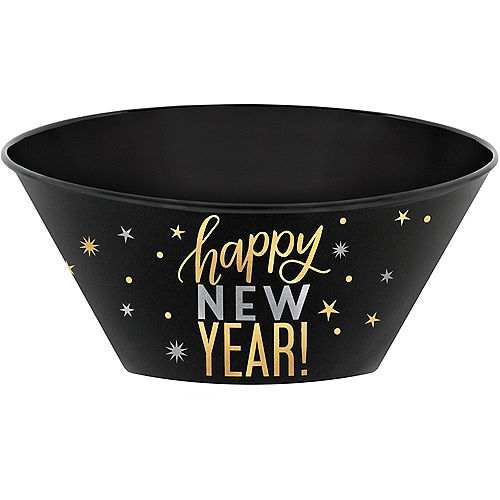 metallic gold silver happy new year serving bowl