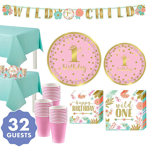 Boho Girl 1st Birthday Party Kit For 32 Guests