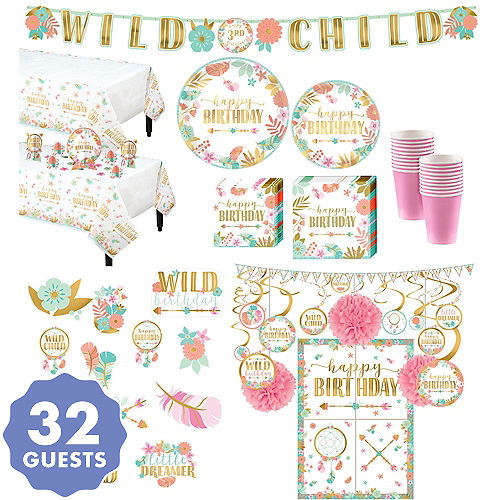 Ultimate Boho Girl Birthday Party Kit For 32 Guests