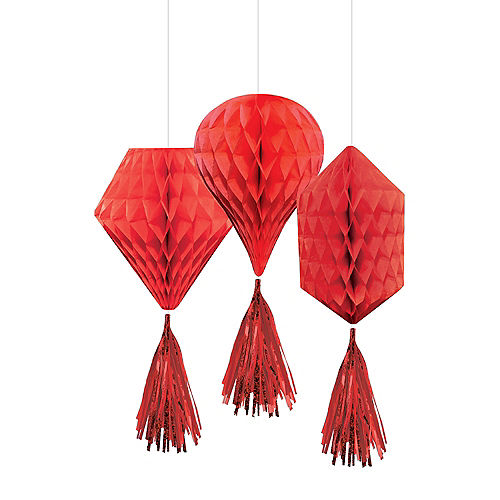 Mini Red Honeycomb Decorations With Tails 3ct