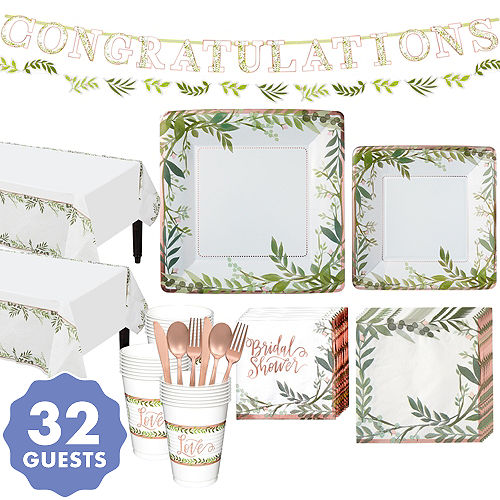 metallic floral greenery bridal shower party kit for 32 guests