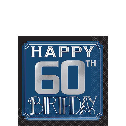 Vintage Happy Birthday 60th Beverage Napkins 16ct