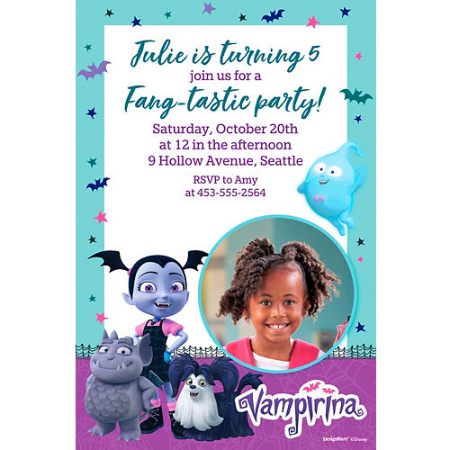 Custom Vampirina Photo Invitations