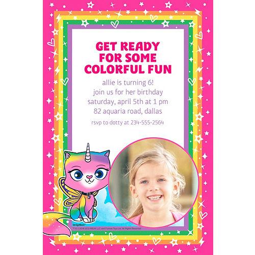 Custom Unicorn Kitty Photo Invitations