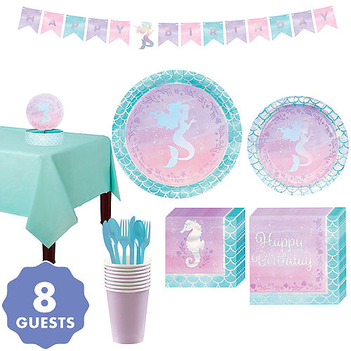 Shimmer Mermaid Basic Party Kit For 8 Guests