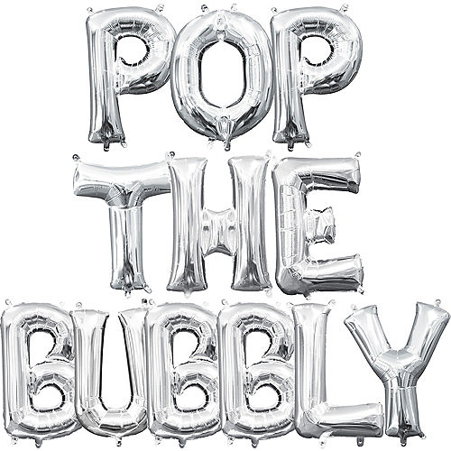 air filled silver pop the bubbly letter balloon kit